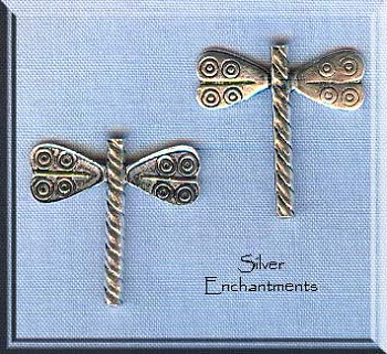 Sterling Silver Dragonfly Beads (2)