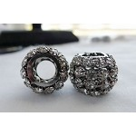Gunmetal Crystal Studded Large Hole Bead