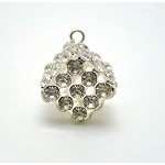 Crystal Studded Cube Dangle, 20x13mm