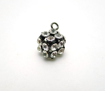 Crystal Studded Cube Dangle, 15x9mm, Jet Finish
