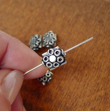 Sterling Silver Flower Beads 11x9x5.5mm (2)