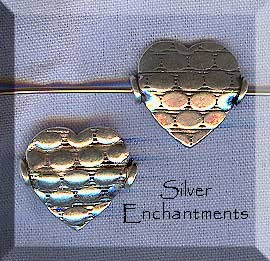Sterling Silver Patterned Heart Beads, Fancy 15mm (2)