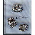 Sterling Silver Square Floral Square Tube Beads (2)