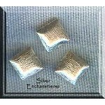 Sterling Silver Puff Square Beads, Bruahed 8mm (2)