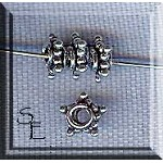 Sterling Silver Star Spacer Beads, 6mm (2)