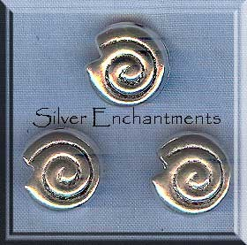Sterling Silver Shell Beads, Spiral 12mm (2)