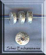 Sterling Silver Rondelle Beads, Brushed 6mm (2)