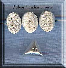 Sterling Silver Triangle Spacer Beads, 8mm Brushed (2)