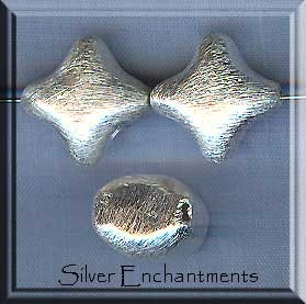 Brushed Sterling Silver Puff Star Beads, 15mm (1)