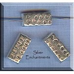 Sterling Silver Hammered Rectangle Beads, 16x8mm (1)