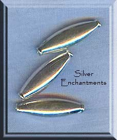 Sterling Silver Capsule Beads, Plain 17x5mm (2)