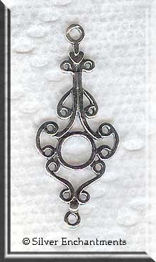 Sterling Silver Long Ornate Chandelier Findings, Pair