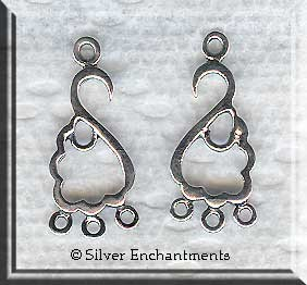Sterling Silver Left and Right Swag Chandelier Earring Parts (2)