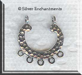 Sterling Silver Hammered Drop Dangler Earring Findings (2)