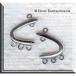 Sterling Silver Left and Right Arc Earring Findings, Pair