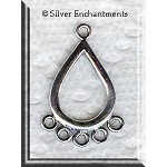 Sterling Silver Teardrop Chandelier Earring Findings with 5 Loops (2)
