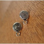 Sterling Silver Celtic Spiral Stud Earrings, 8mm Swirl with Dangler Loop, Pair - SOLDOUT