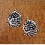 Sterling Silver Bohemian Jewelry Parts, Fancy 8-Sided with 6-Loops, PAIR