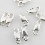 Sterling Silver Lobster Claw Clasp with Ring 10mm