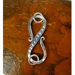 Sterling Silver Large S-Hook Clasp with Rings, 42mm