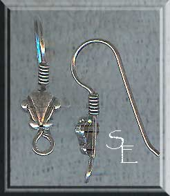 SOLDOUT - Sterling Silver Ear Wires with Scallop Detail and Coil, Pair