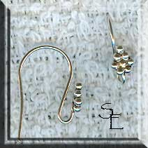 Sterling Silver French Ear Hooks with Fancy Cluster Top, Pair