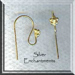 Gold Vermeil Earring Hook with Bead Accent, Pair