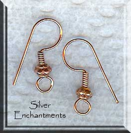 Copper Earwires with Coil and Fancy Bead, 10pc