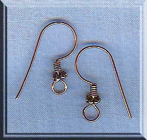 Solid Copper Earring Hooks with Daisy, Raw Copper Ear Wires, 5-Pair Bag