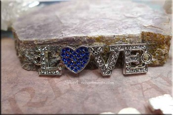 Crystal Love Jewelry Connectors with Sapphire Heart