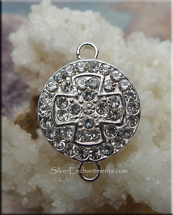Crystal Cross Pendant-Connectors, Medallion Cross with Crystals