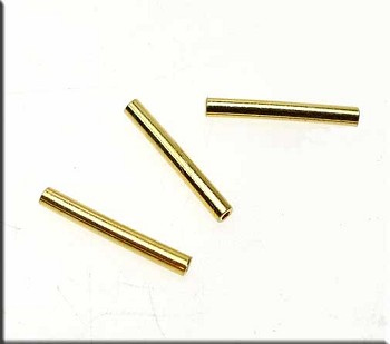 Vermeil Noodle Beads, Tube Beads, 17mm (2)