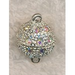 Gemmed Ball Magnetic Clasp with Crystal AB Crystals