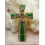 Ornate Enameled Cross Jewelry Centerpiece with Crystals, Green-Gold