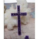 Amethyst Purple Cross Jewelry Findings with Crystals, Multiple Holes