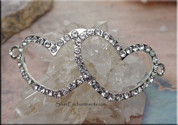Curved Crystal Linked Hearts Connector