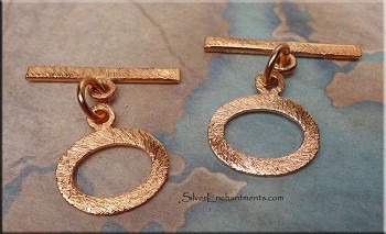 Solid Copper Oval Toggle Clasp - Both Sides Shown