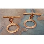 Solid Copper Oval Toggle Clasp, Brushed Finish