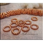 Solid Copper Closed Jump Rings, Twist, 8.5mm (10)