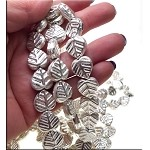 Silver Leaf Beads, Silver Plated Copper 15x14mm (2)