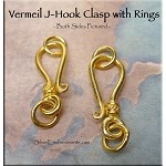 Vermeil J-Hook Clasp with Closed Jump Rings