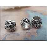 Sterling Silver Large Hole Bead, Elaborate Flower Band Bead