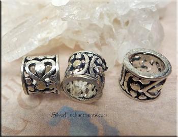 Sterling Silver Large Hole Beads with Scroll Heart Motif
