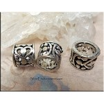 Sterling Silver Big Hole Bead with Scroll Heart Motif
