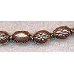 Solid Copper Fancy Puff Oval Beads with Flower Leaf Detail 13x9x8mm 10 per bag