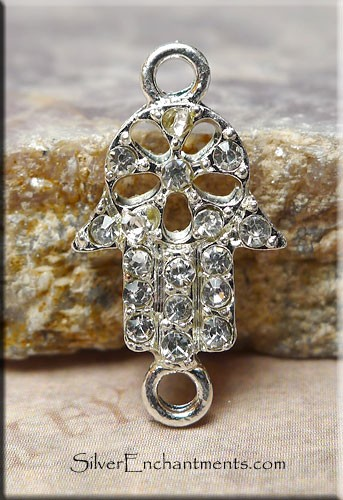 Silver Plated Fancy Hand of Fatima Hamsa Connector with Crystals