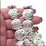 Spiral Seashell Bead, 20mm Sterling Silver Plated (1)