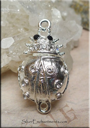 Egyptian Scarab Clasp, Silver Plated Scarab Beetle Magnetic Clasp with Crystals