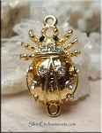 Egyptian Scarab Clasp, Gold Plated Egyptian Beetle Magnetic Clasp with Crystals