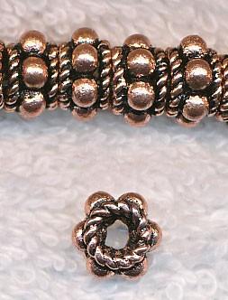 Copper Copper Dotted 8mm Rondelle Spacer